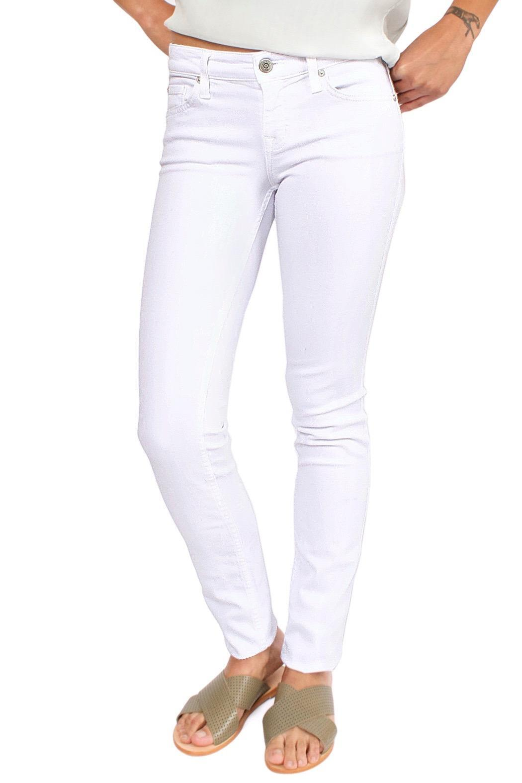 Level 99 White Skinny Jeans - Front Cropped Image