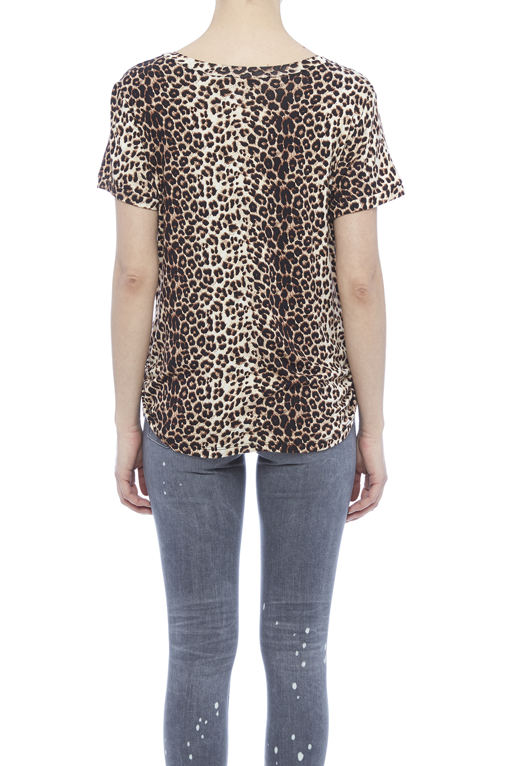 LIBIAN Leopard Print Top - Back Cropped Image