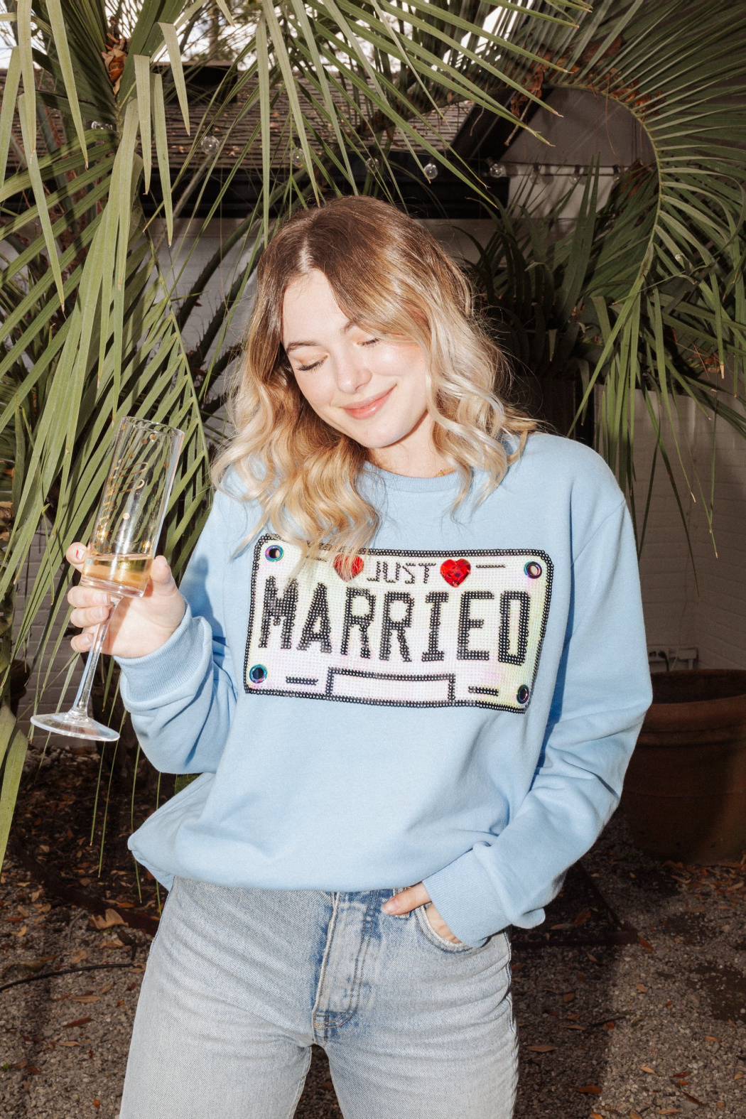 Queen Of Sparkles Licensed To Wed Sweatshirt - Front Cropped Image