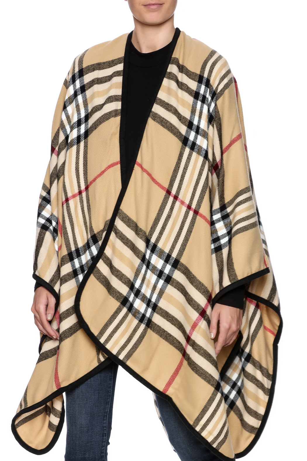 Life Is Beautiful Plaid Wrap - Front Cropped Image