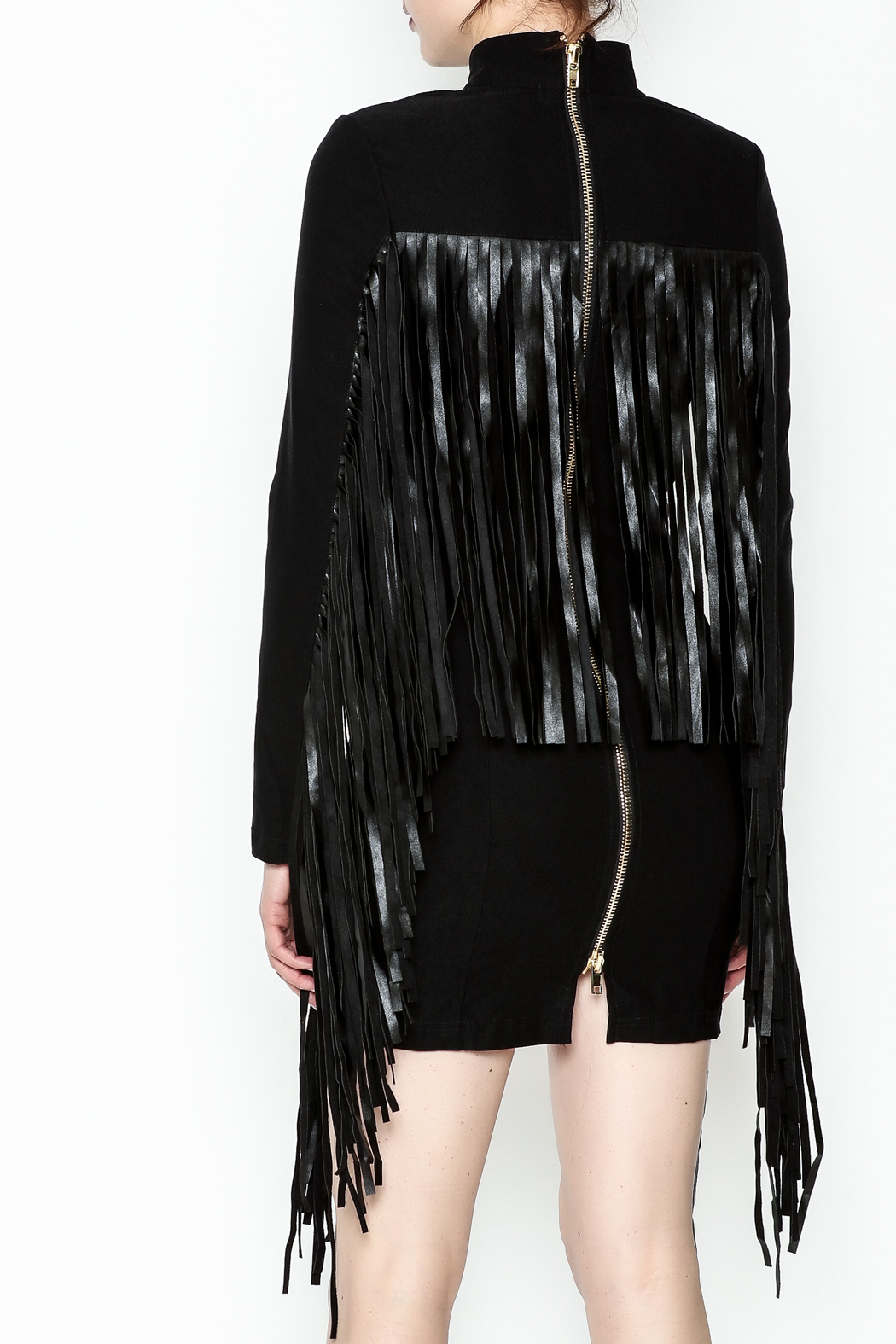 LIFTED Boutique Black Fringe Dress - Back Cropped Image