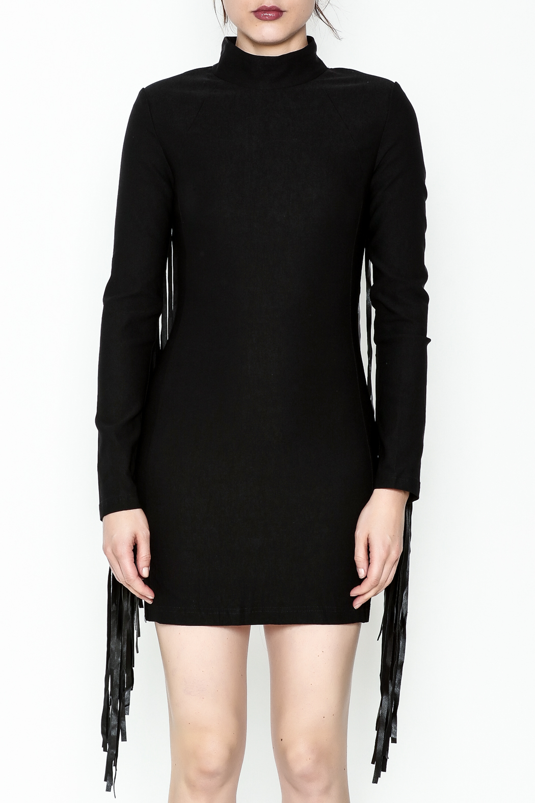 LIFTED Boutique Black Fringe Dress - Front Full Image