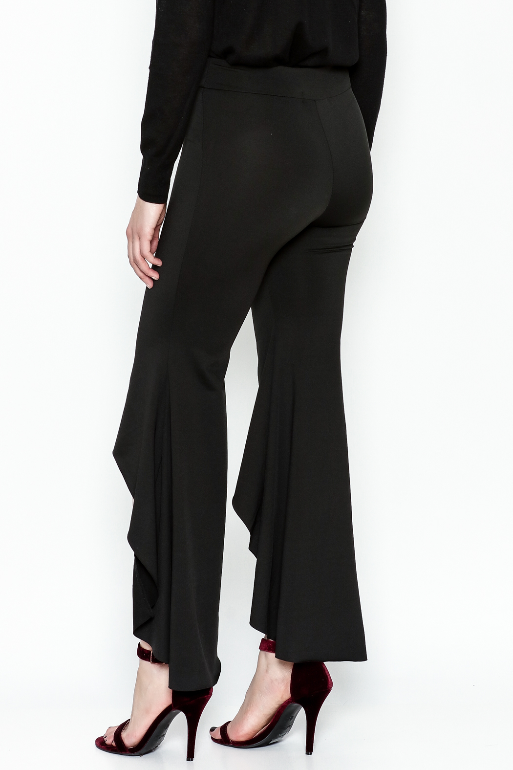 LIFTED Boutique Black High Low Pants - Back Cropped Image