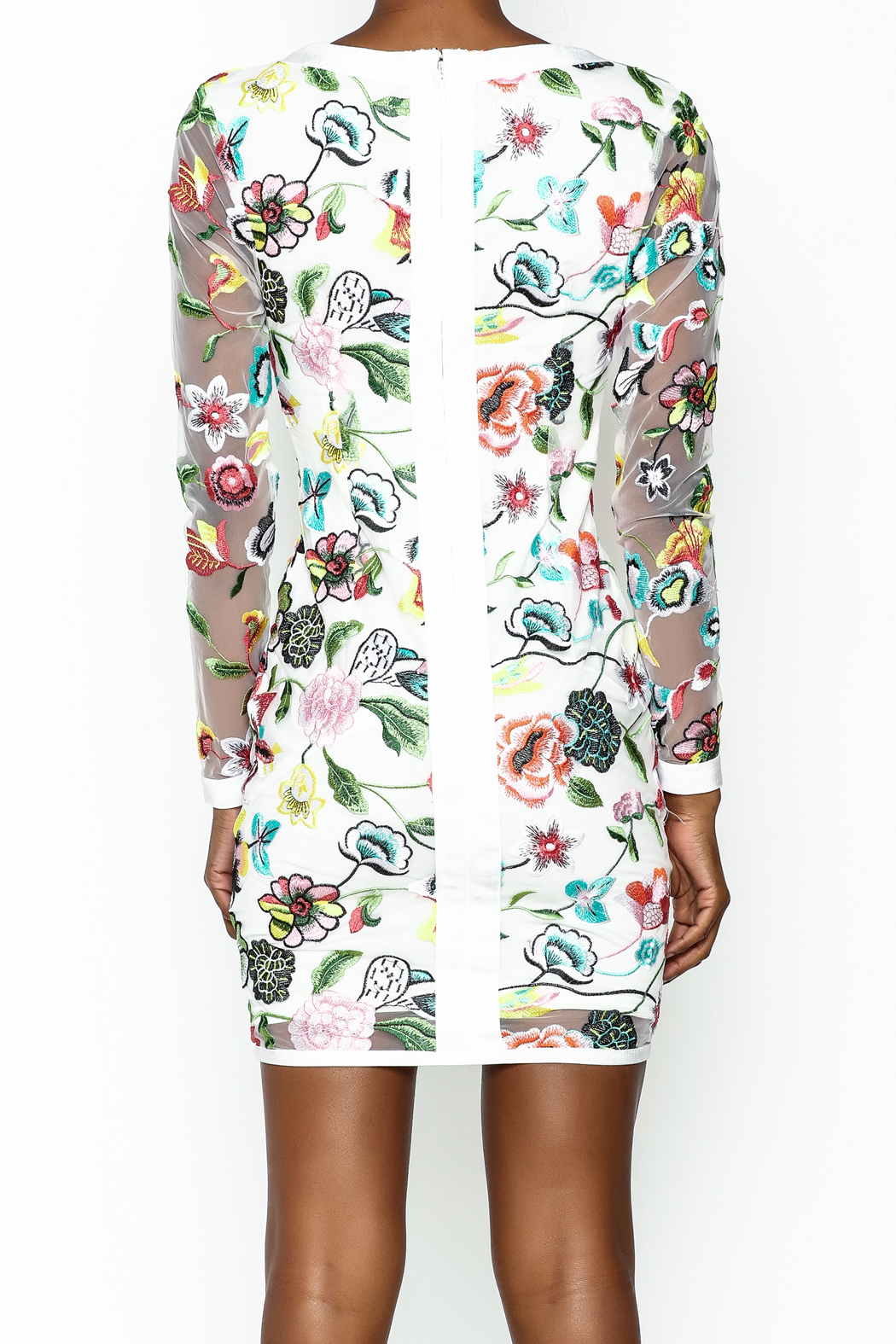 LIFTED Boutique Floral Embroidered Dress - Back Cropped Image