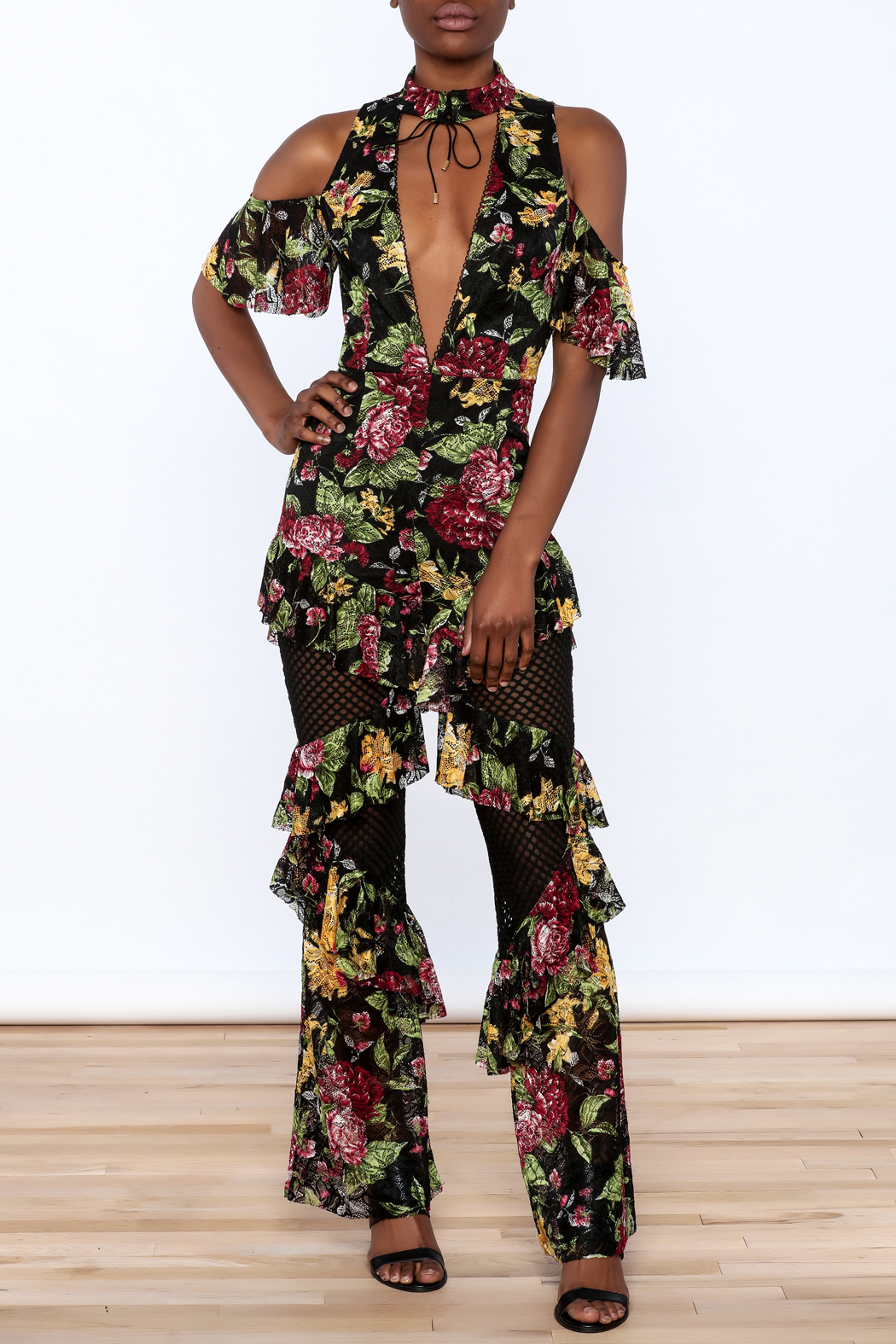LIFTED Boutique Floral Lace Jumpsuit - Main Image