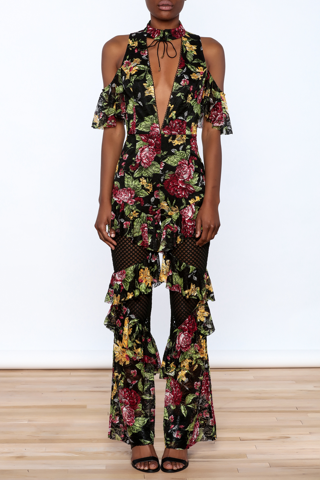 LIFTED Boutique Floral Lace Jumpsuit - Front Cropped Image