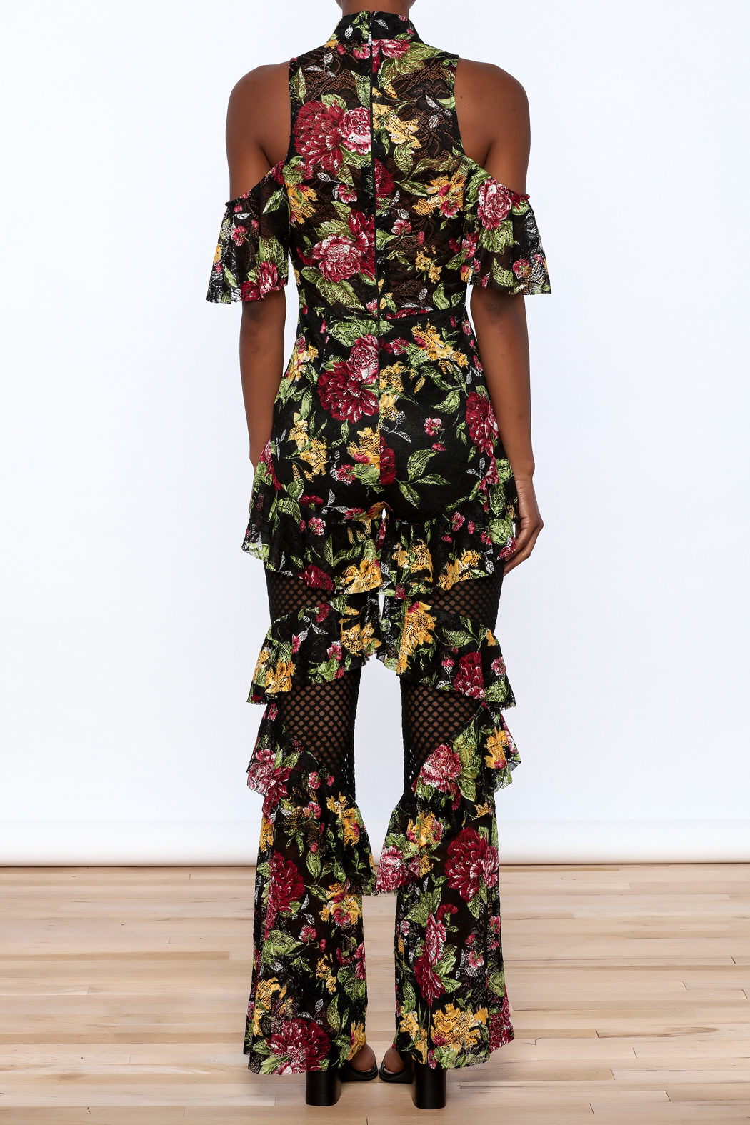 LIFTED Boutique Floral Lace Jumpsuit - Back Cropped Image