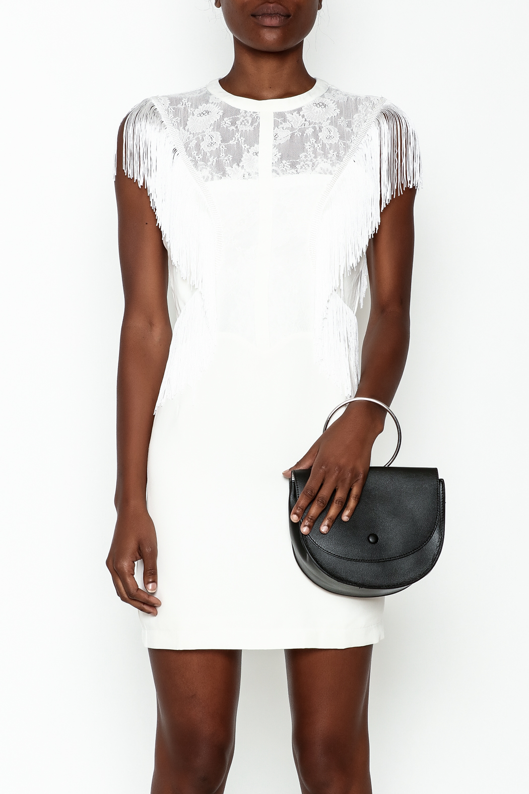 LIFTED Boutique Fringe And Lace Dress - Front Full Image
