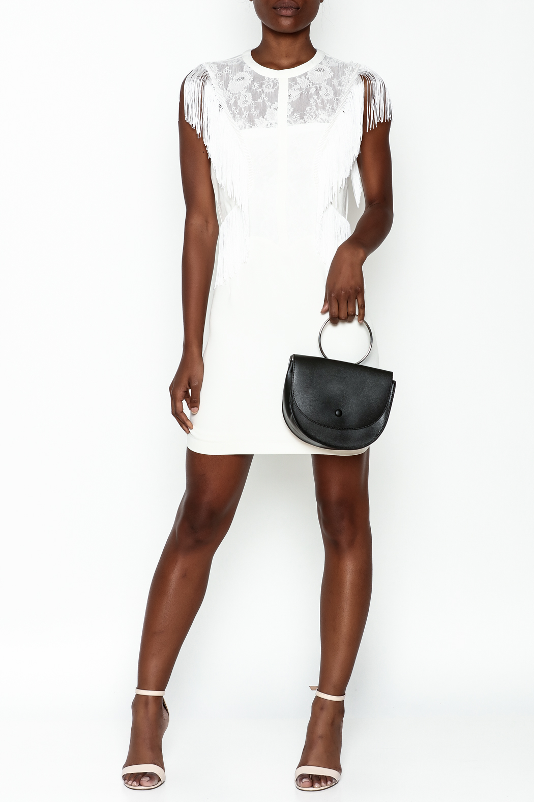LIFTED Boutique Fringe And Lace Dress - Side Cropped Image