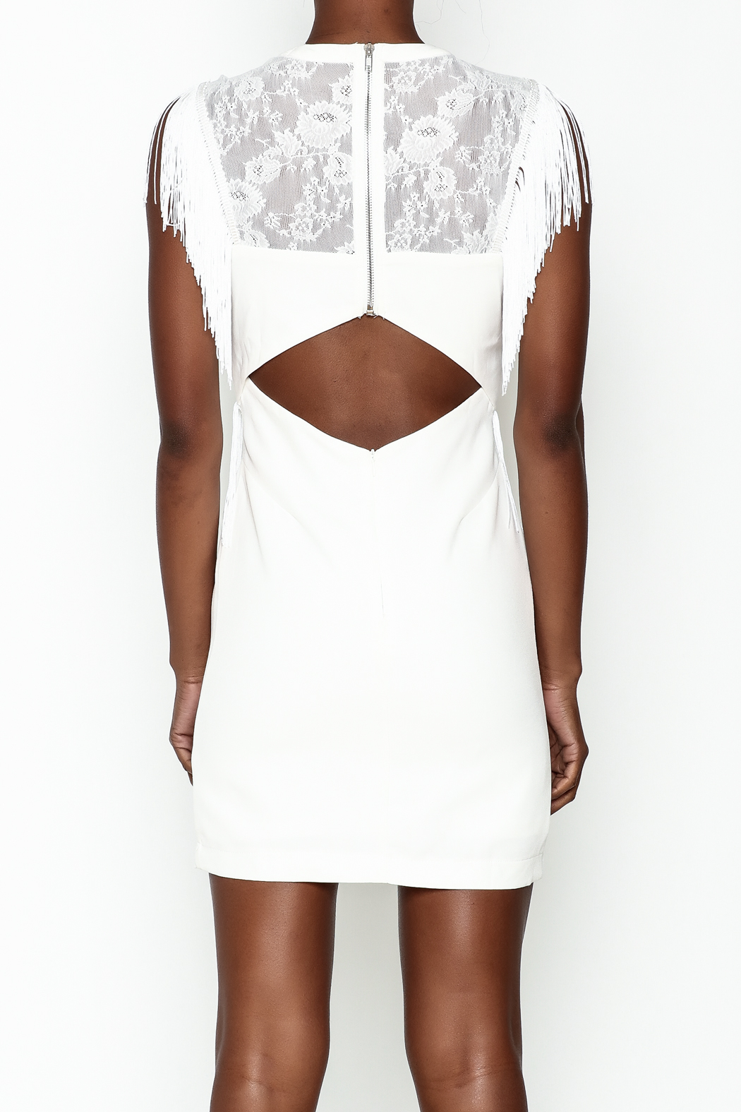 LIFTED Boutique Fringe And Lace Dress - Back Cropped Image