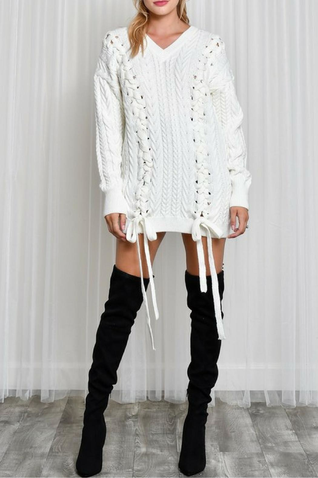 LIFTED Boutique Oversize Lace Up Sweater - Front Full Image