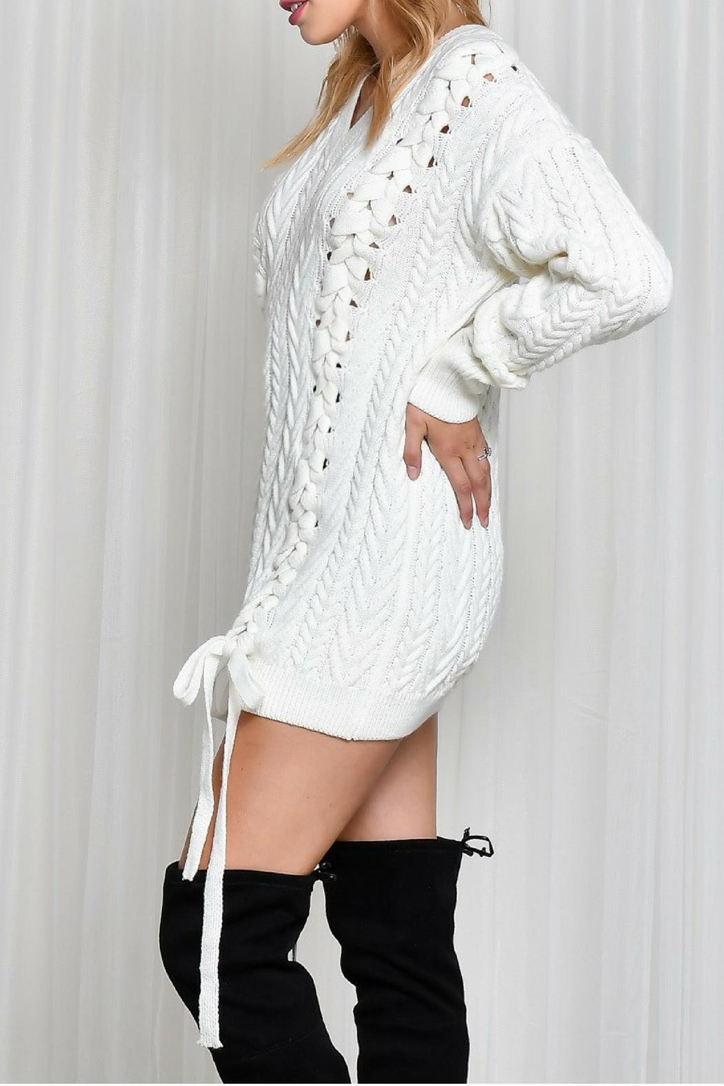 LIFTED Boutique Oversize Lace Up Sweater - Back Cropped Image