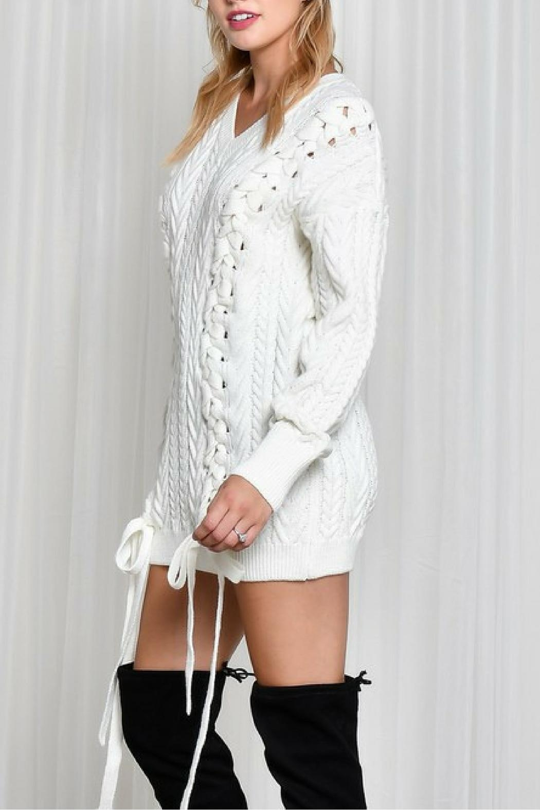 LIFTED Boutique Oversize Lace Up Sweater - Side Cropped Image