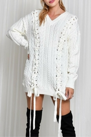 LIFTED Boutique Oversize Lace Up Sweater - Product Mini Image