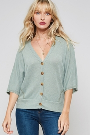 Lyn-Maree's  Light 3/4 Button Down Sweater - Front cropped