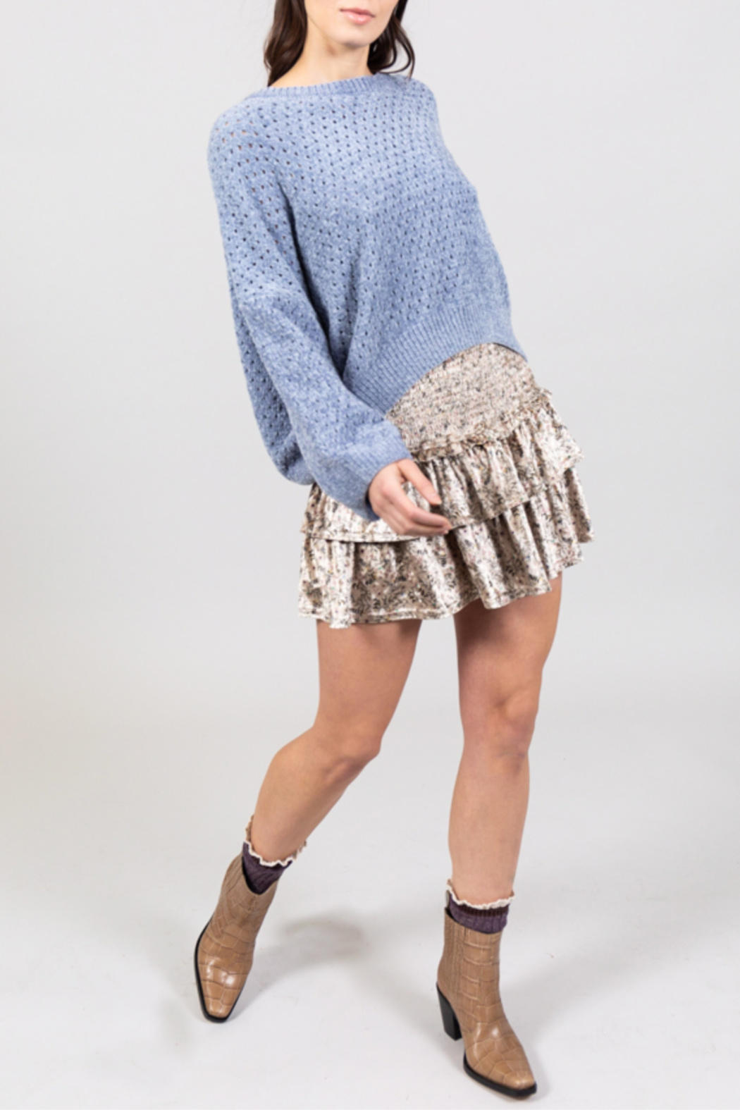Allison Collection Light Blue Chenille Pullover - Main Image