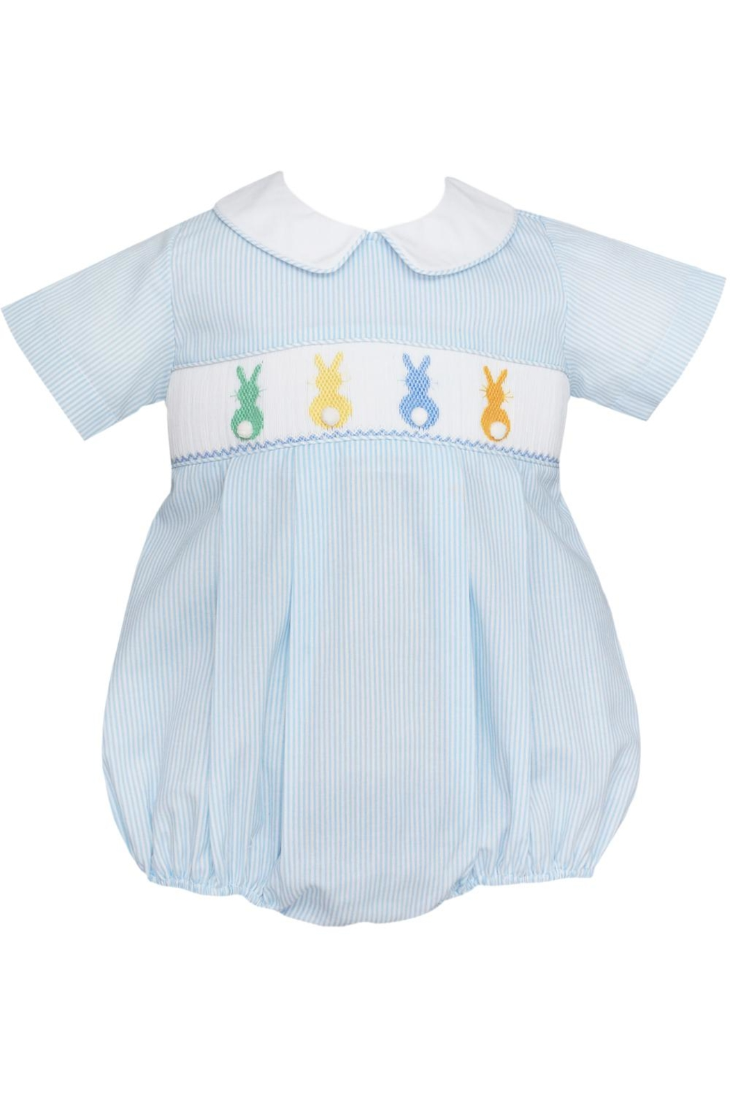 Petit Bebe Light-Blue-Cottontails Smocked Bubble - Front Cropped Image