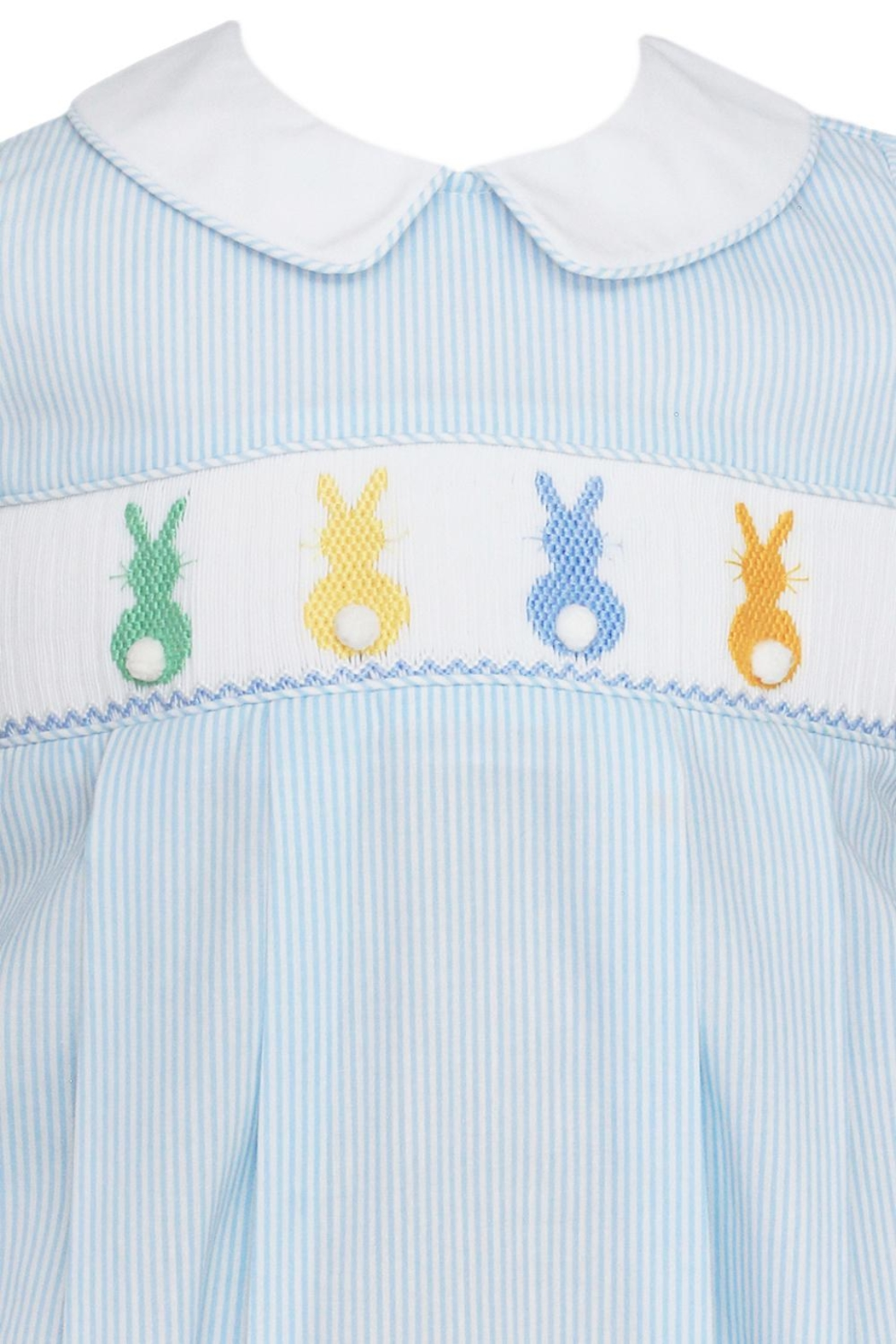 Petit Bebe Light-Blue-Cottontails Smocked Bubble - Front Full Image