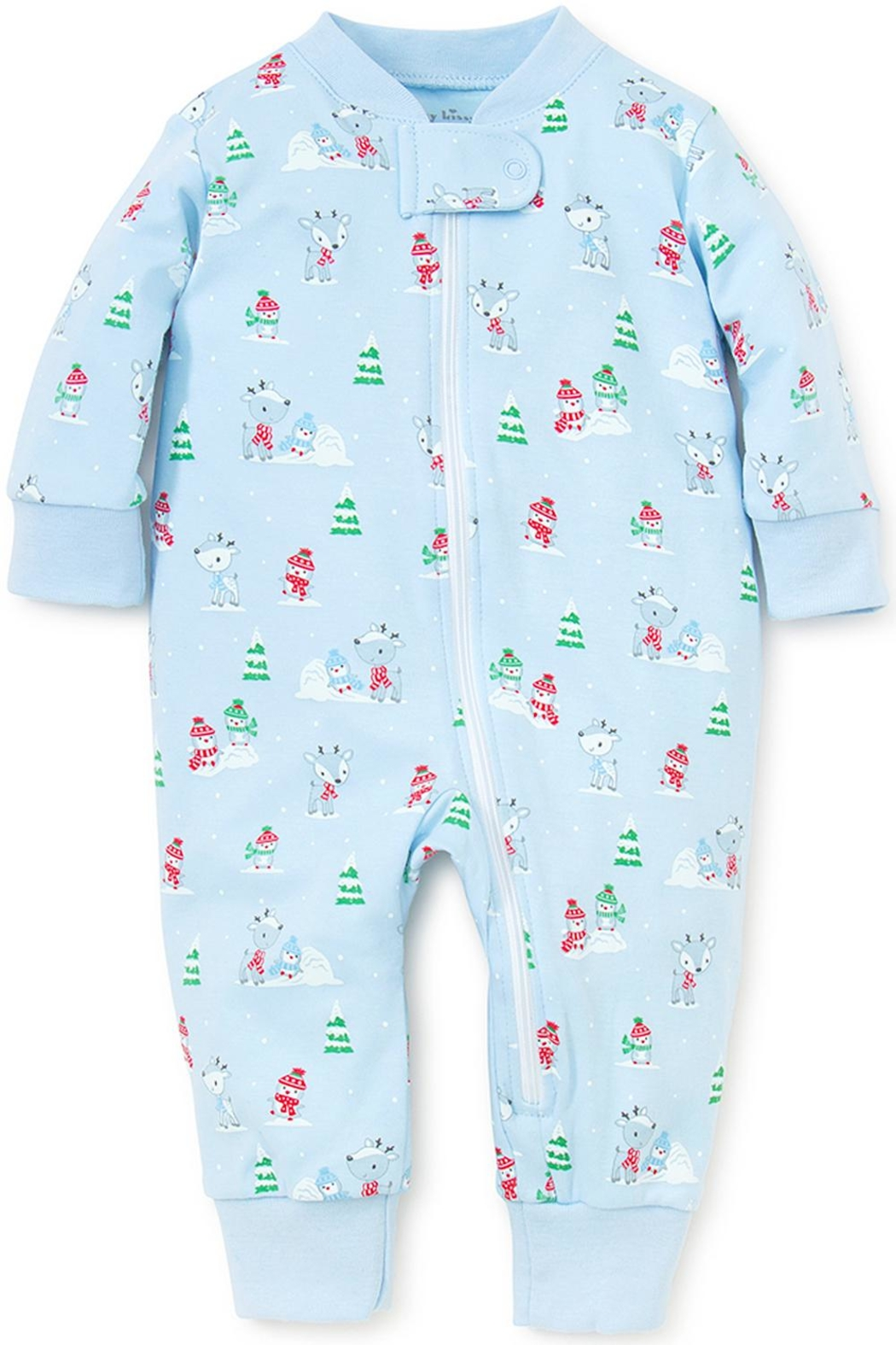 Kissy Kissy Light-Blue Snow-Day Zipper-Pajama - Front Cropped Image