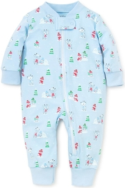 Kissy Kissy Light-Blue Snow-Day Zipper-Pajama - Front cropped
