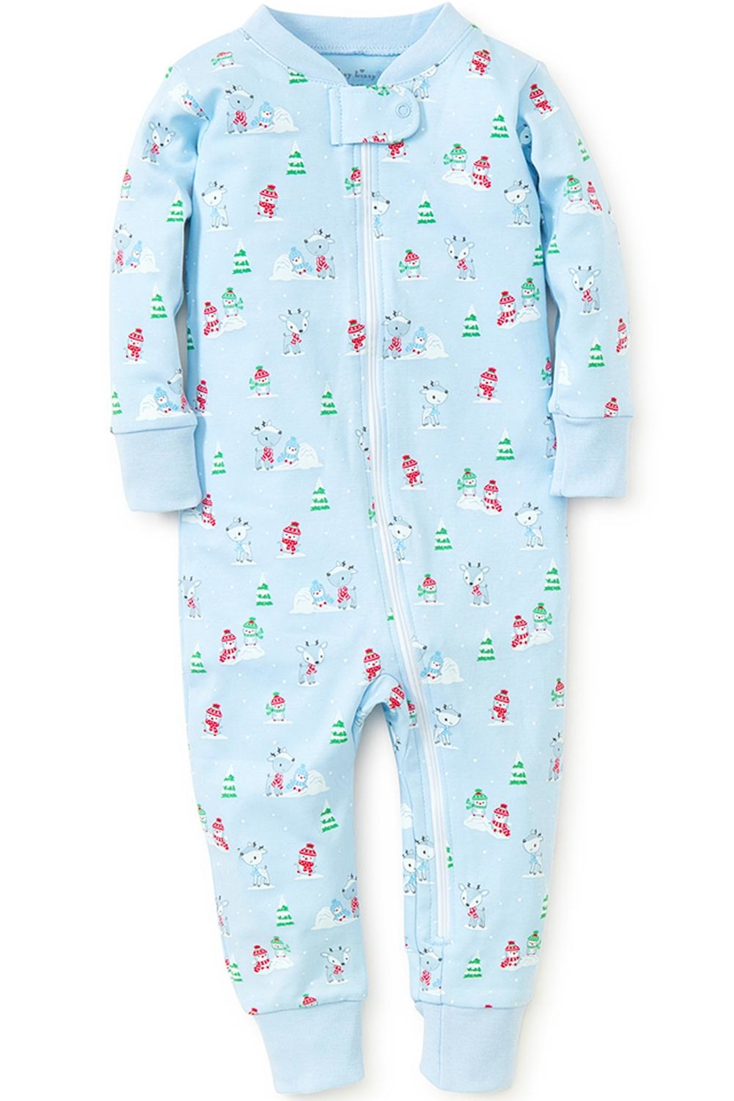 Kissy Kissy Light-Blue Snow-Day Zipper-Pajama - Front Full Image