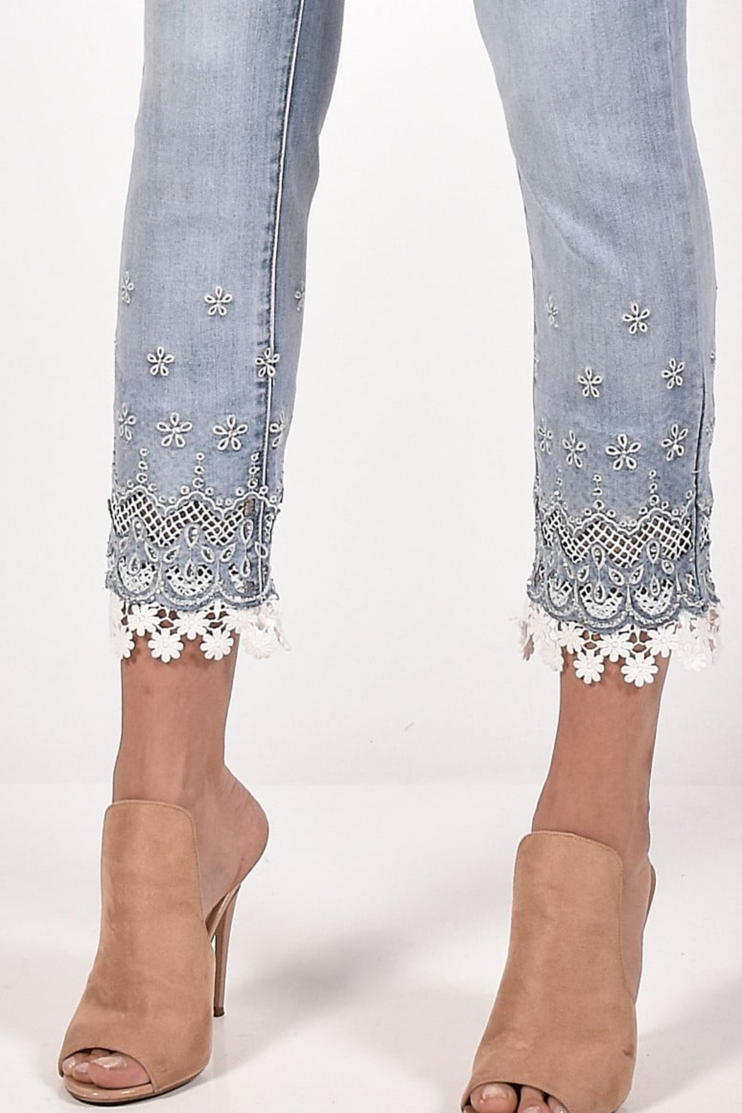 Frank Lyman Light-Blue/White Denim color with silver and white floral lace design at the bottom. - Side Cropped Image