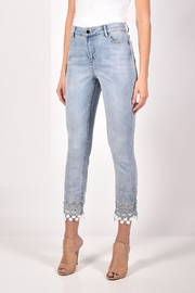 Frank Lyman Light-Blue/White Denim color with silver and white floral lace design at the bottom. - Front cropped