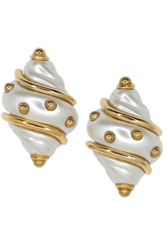 Kenneth Jay Lane Light Cultura Shell Pearl Clip Earrings - Product List Image