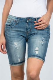 Clingers Light Denim Distressed Bermuda Shorts - Front cropped