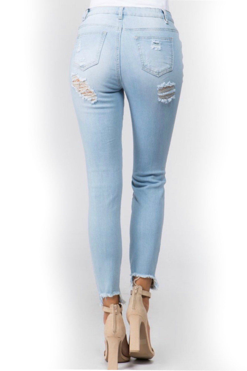 American Bazi Light distressed denim - Back Cropped Image