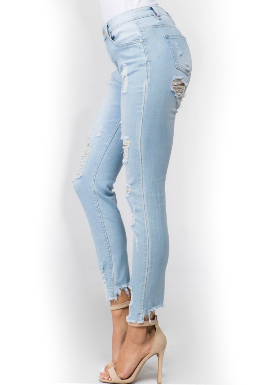 American Bazi Light distressed denim - Side Cropped Image