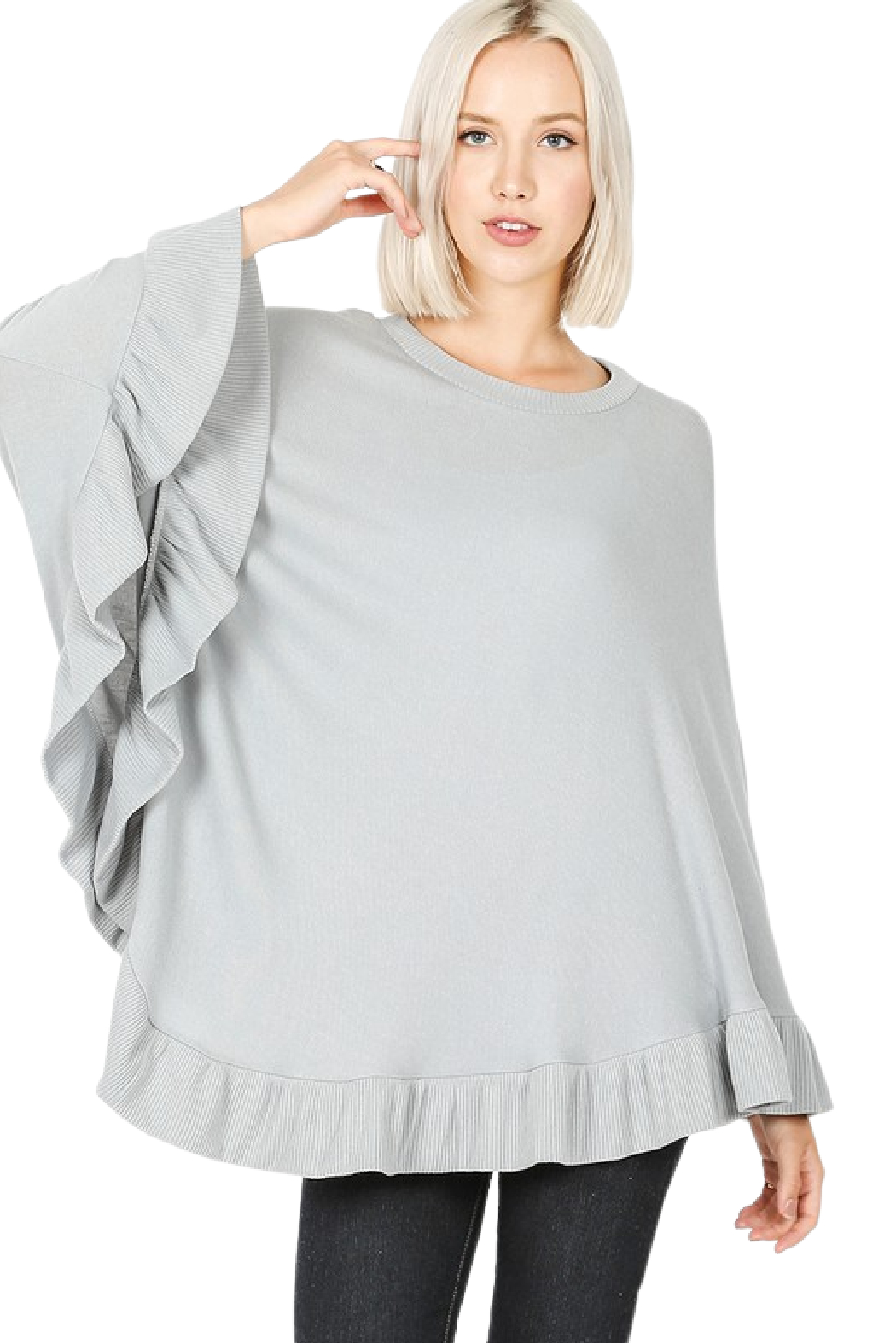 Zenana Outfitters Light Grey Poncho - Main Image