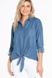 Multiples Light Indigo Tie Front Shirt - Front cropped