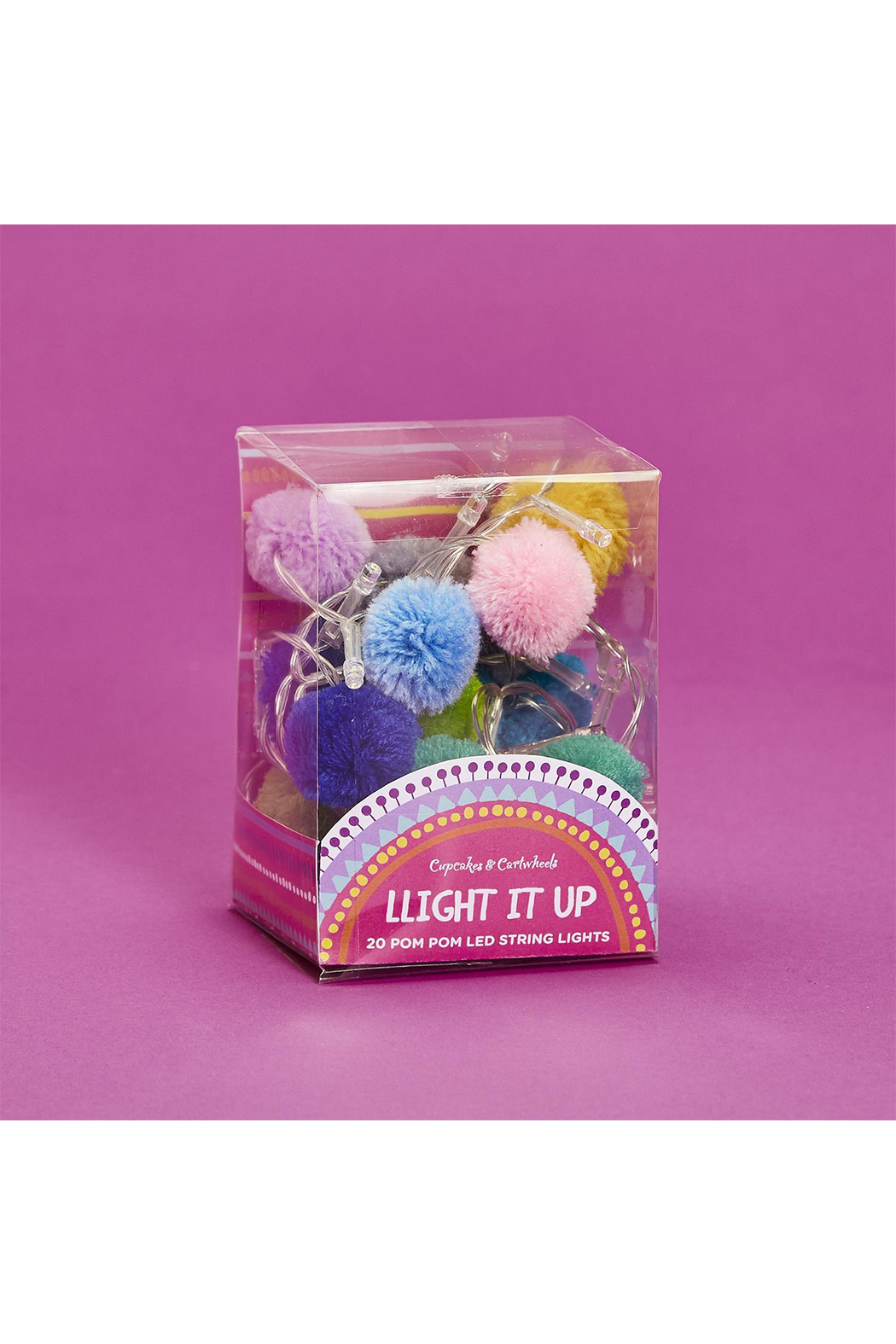 Cupcakes and Cartwheels Light It Up 20 Pom Pom LED String Lights - Main Image