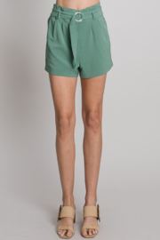 Must Have Light Olive Ring Belted Crepe Shorts - Product Mini Image