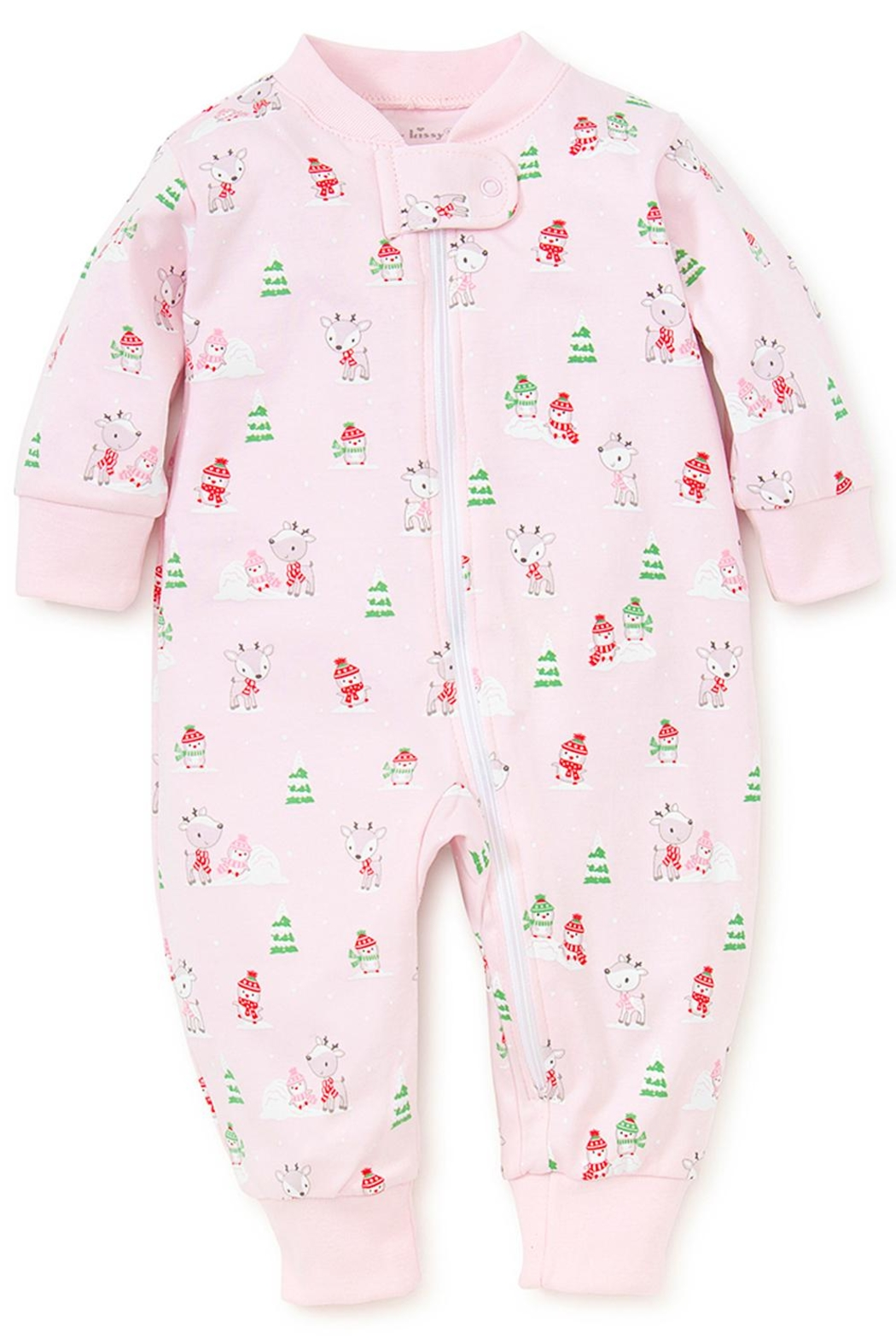 Kissy Kissy Light-Pink Snow-Day Zipper-Pajama - Main Image