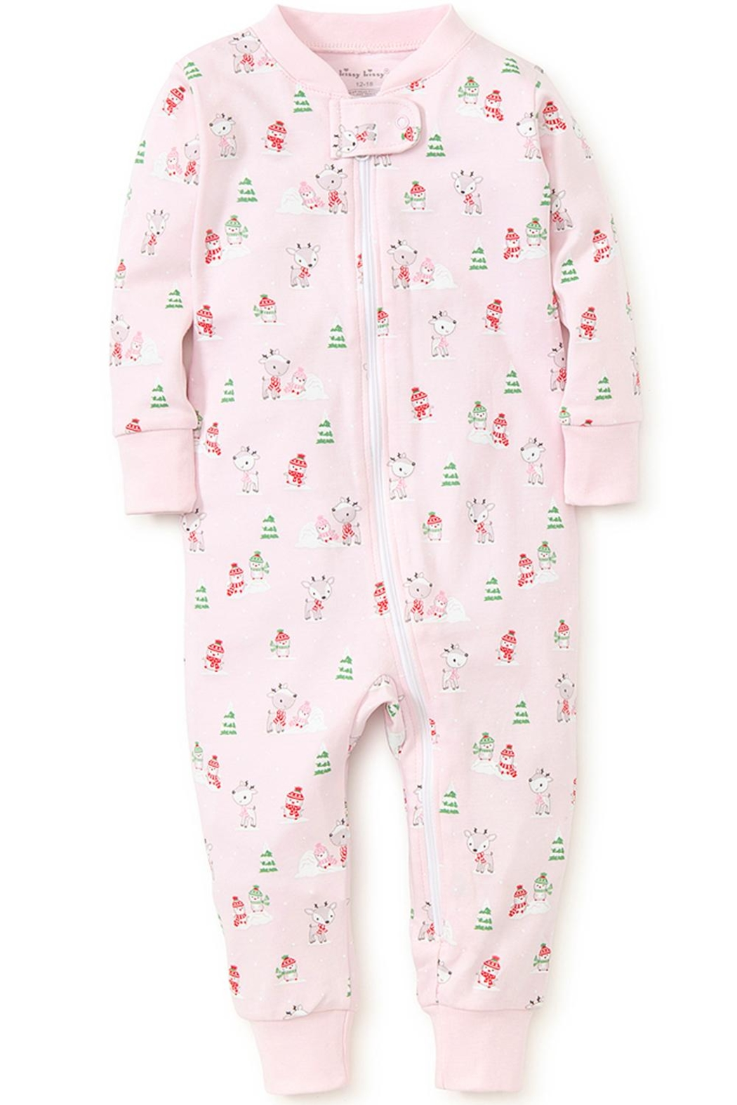 Kissy Kissy Light-Pink Snow-Day Zipper-Pajama - Front Full Image