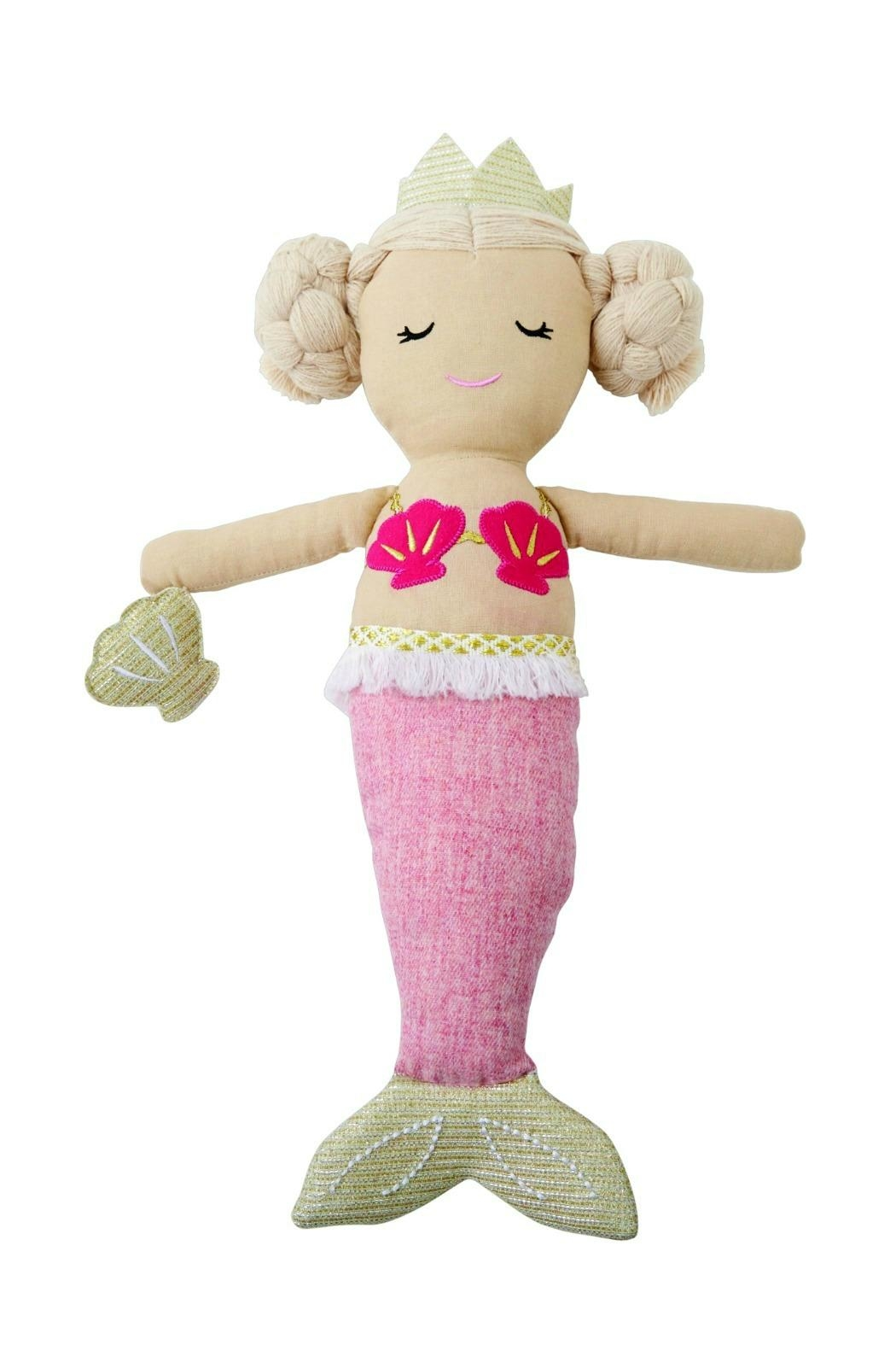 Mud Pie Light-Pink-Tail Mermaid Doll - Main Image