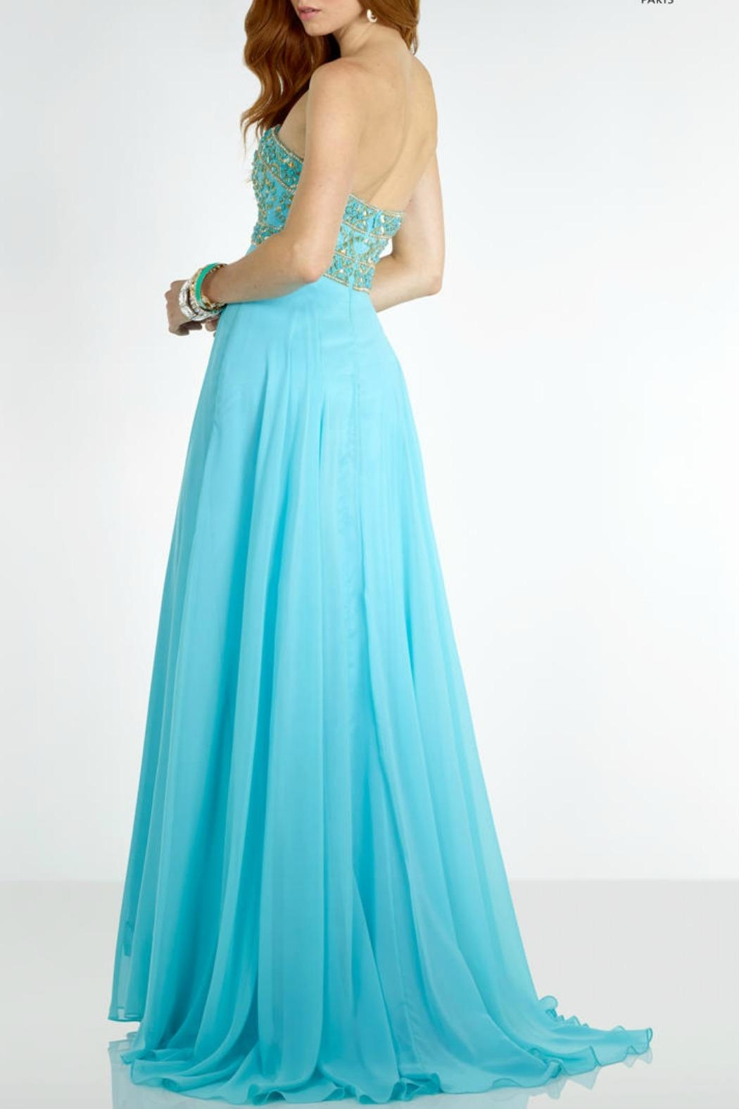 Alyce Paris Light Turquoise Gown - Front Full Image