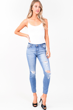 MONTREZ LIGHT WASH DISTRESSED SKINNY JEANS - Product List Image