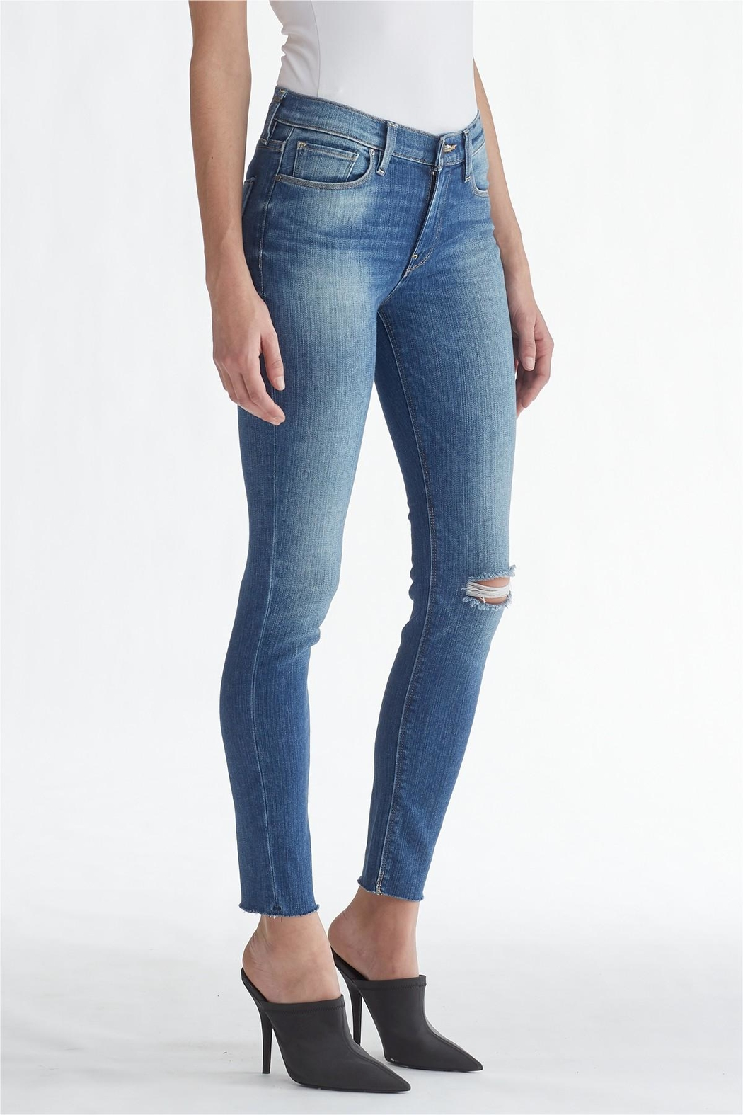 Hudson Jeans Light-Wash Ripped-Knee Ankle-Skinny - Side Cropped Image