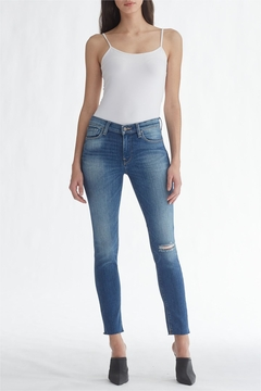 Shoptiques Product: Light-Wash Ripped-Knee Ankle-Skinny