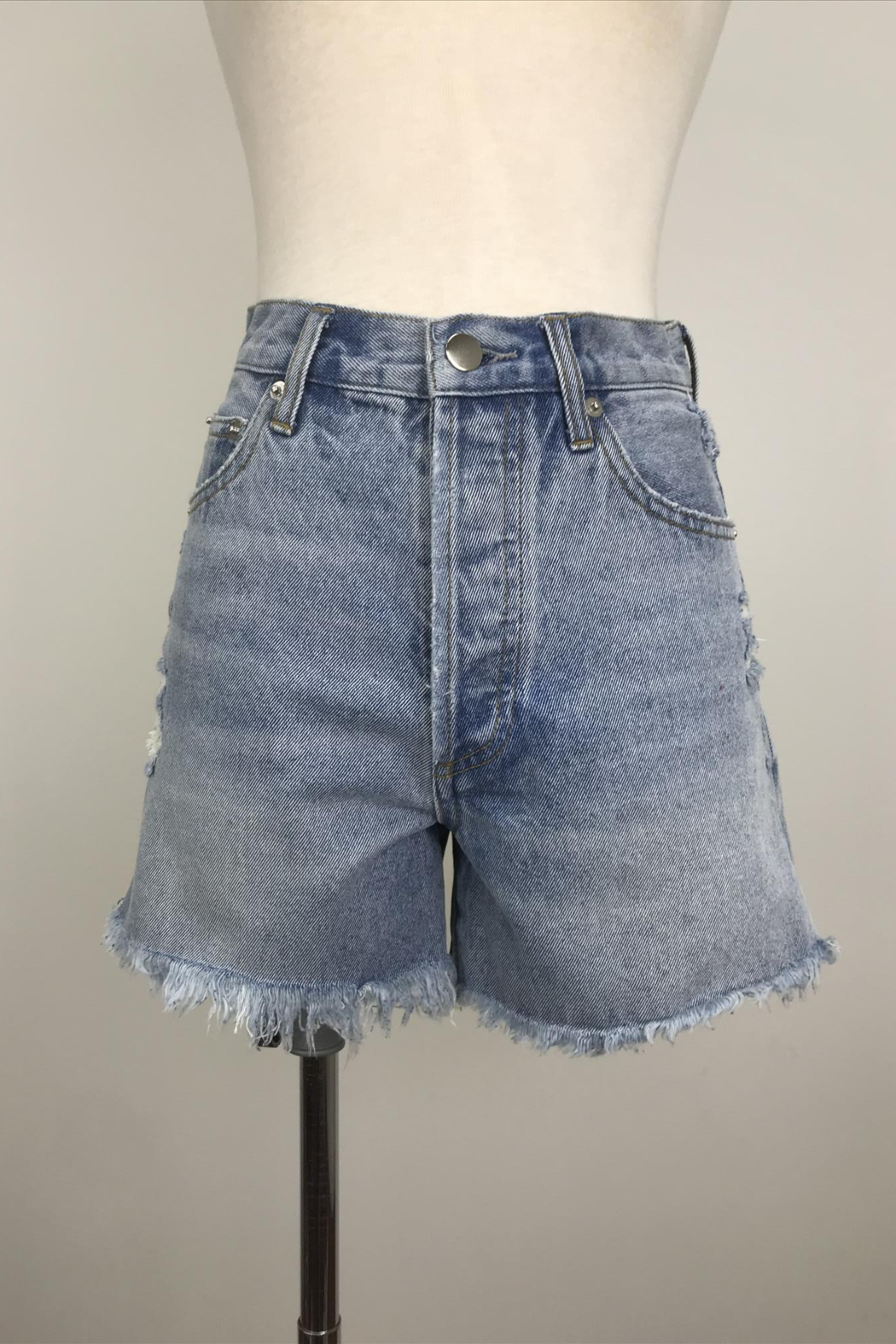 By Together Light Washed Shorts with Side Slit - Main Image