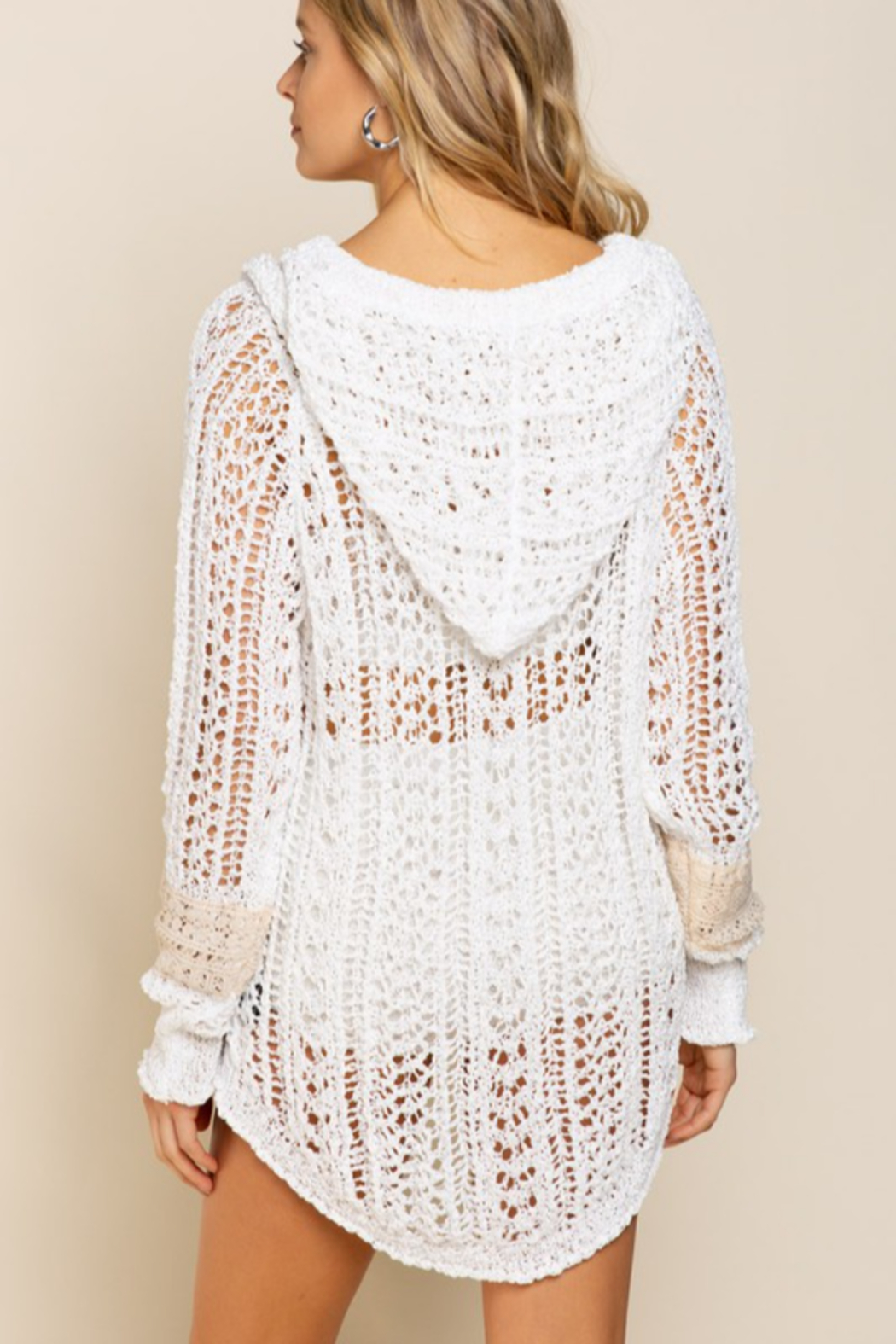 POL  Light Weight Hooded Sweater - Back Cropped Image