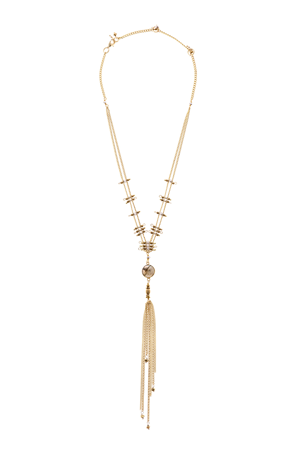 Light Years Collection Labradorite Tassel Necklace - Front Cropped Image