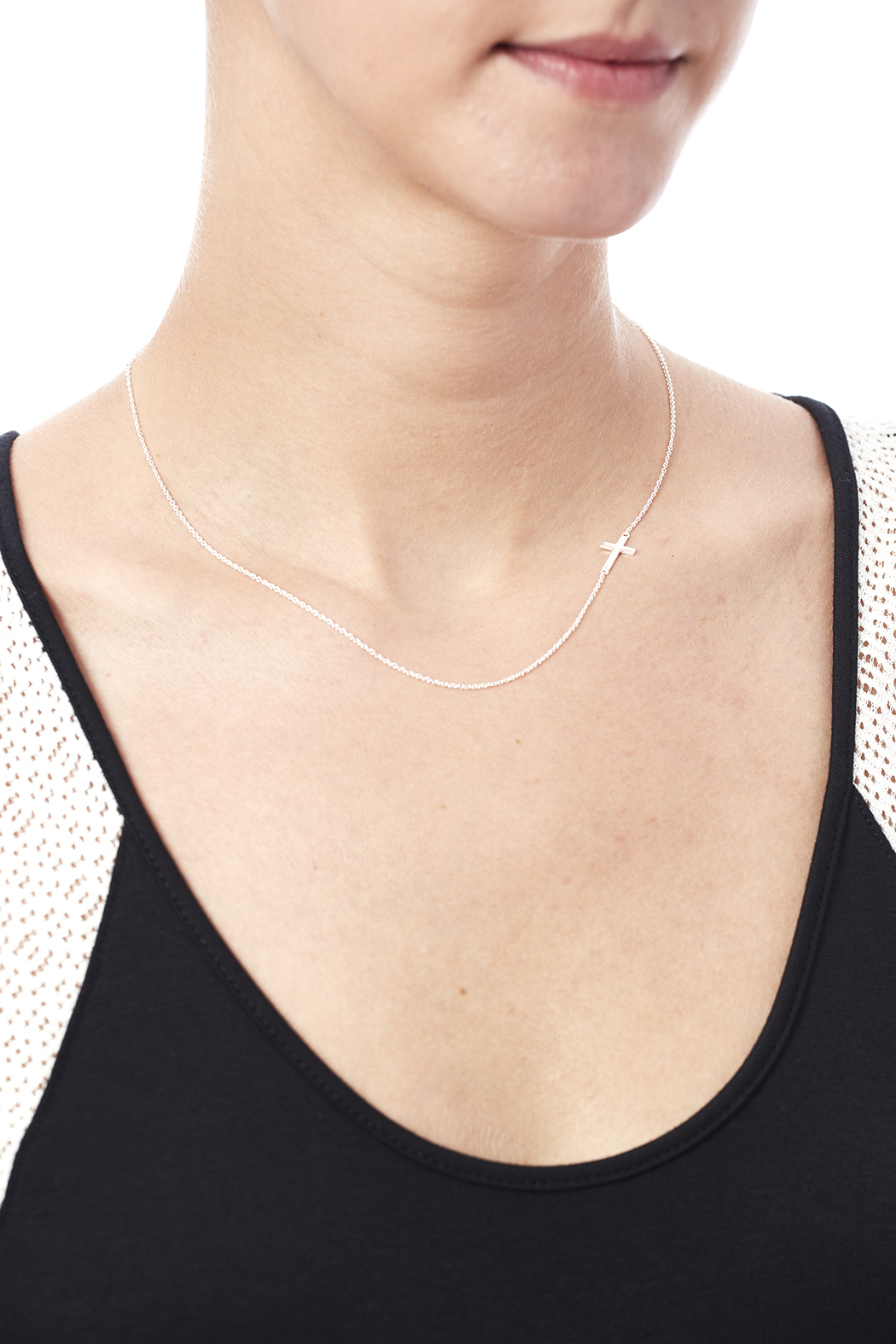 Light Years Collection Sideways Cross Necklace - Back Cropped Image