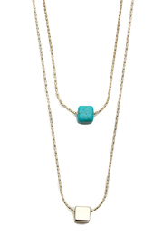 Light Years Collection Stone Cube Necklace - Front full body
