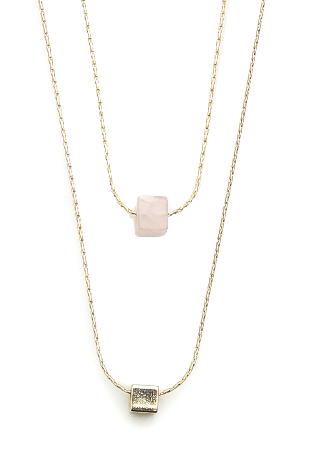 Light Years Collection Stone Cube Necklace - Front Full Image