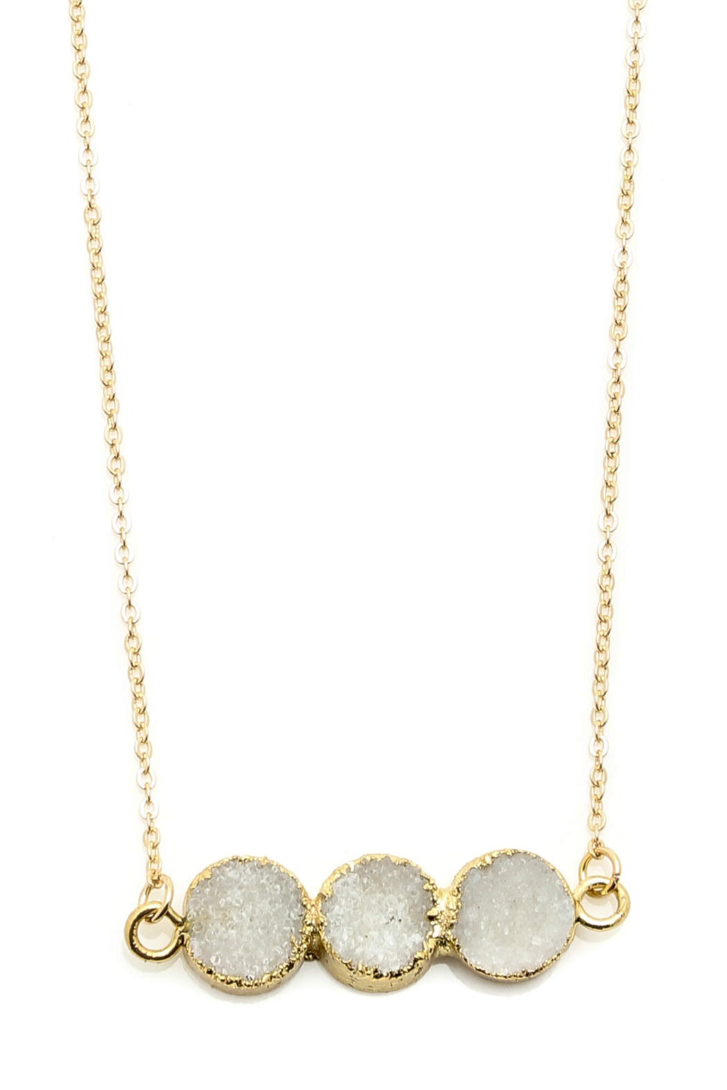Light Years Collection Triple Druzy Circles Necklace - Front Full Image