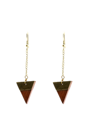 Light Years Collection Wooden Triangle Earrings - Product Mini Image